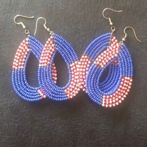 Red white and blue beaded earrings